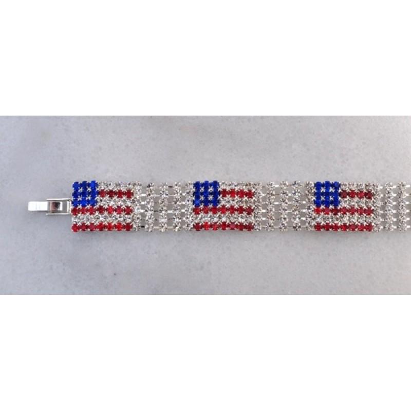 Austrian Crystal American Flag Bracelet - Item #P0590S
