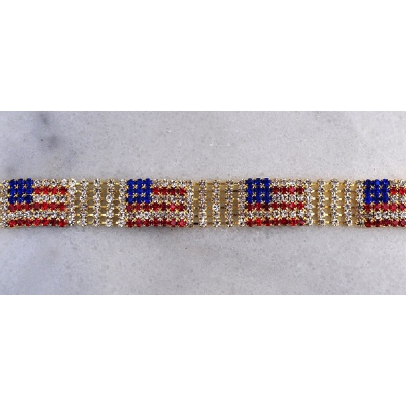 Austrian Crystal American Flag Bracelet - Item #P0590G