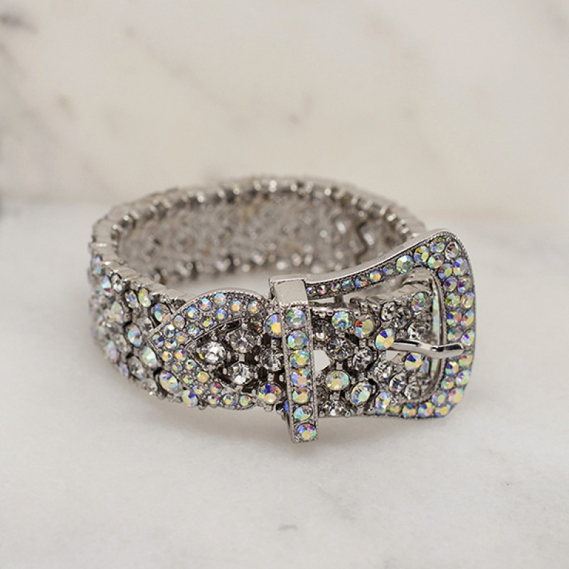 Austrian Crystal Belt Buckle Bracelet - Item #YBHJ0878 - 7 in to 8 in