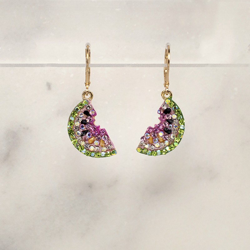 Austrian Crystal Watermelon Earrings - Item #1063LB