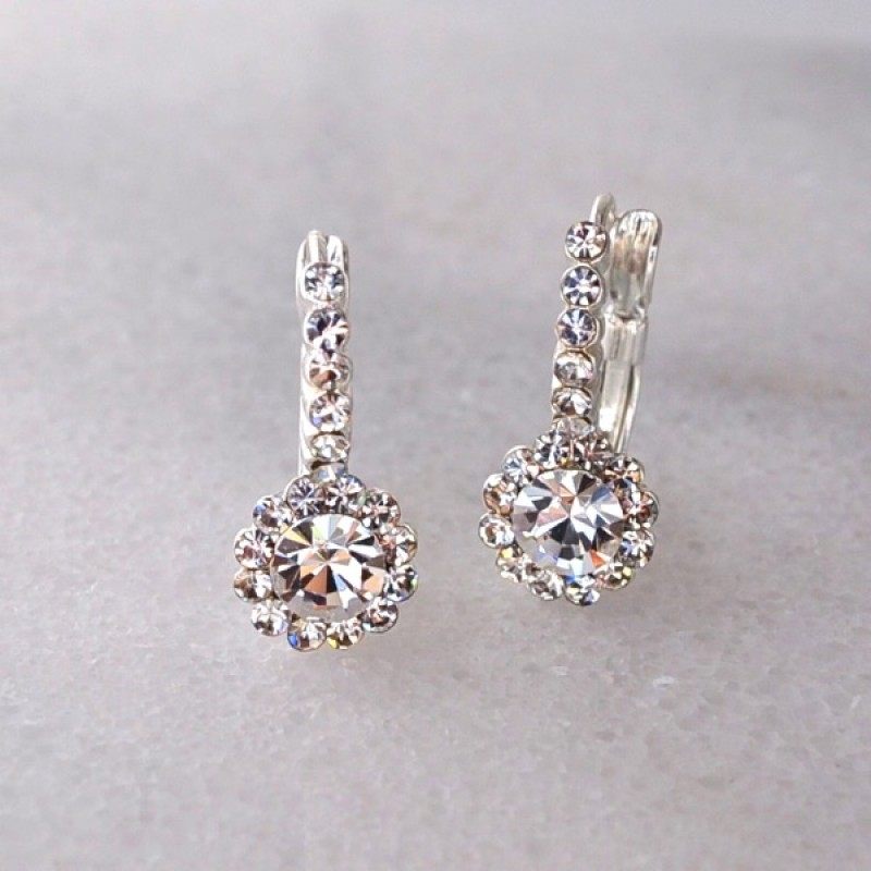 Austrian Crystal Lever Back Earrings with Center Stone Accented with 19 Crystals - Item #25161W- 3/4 in.