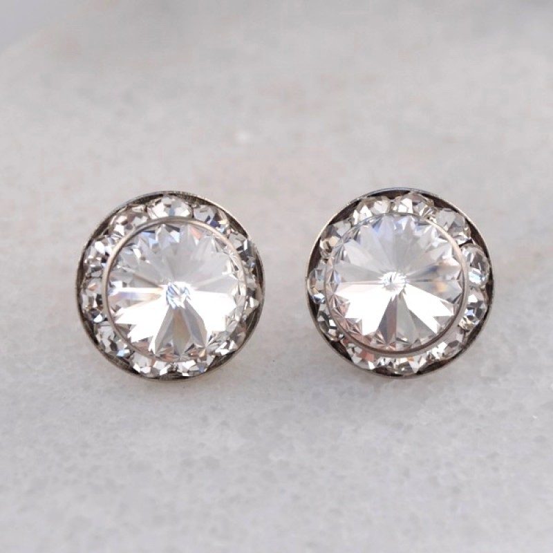 Swarovski Element Rondelle Post Earrings - Item #40005ES - 15mm