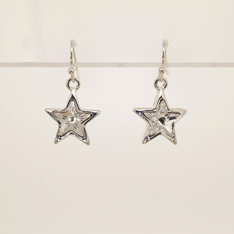 Swarovski Element Star Hook Earrings - Item #41792E - 3/4 in x 1 in