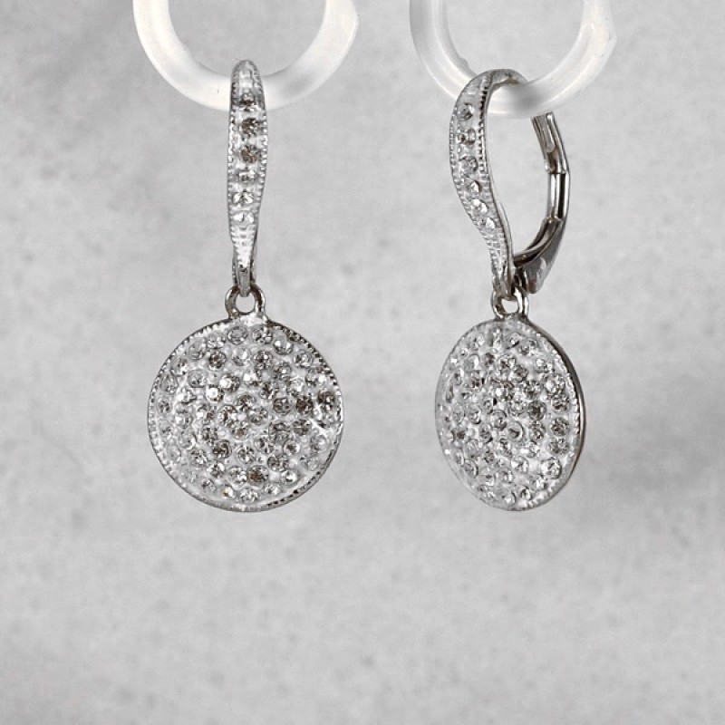 Austrian Crystal Enhanced Lever Back Earrings - Item #BREU - 1 1/4 in.