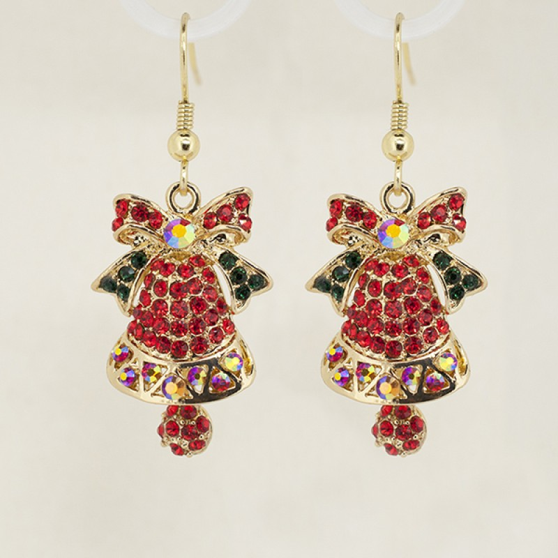 Austrian Crystal Christmas Bell Earrings - Item #P5144RDE