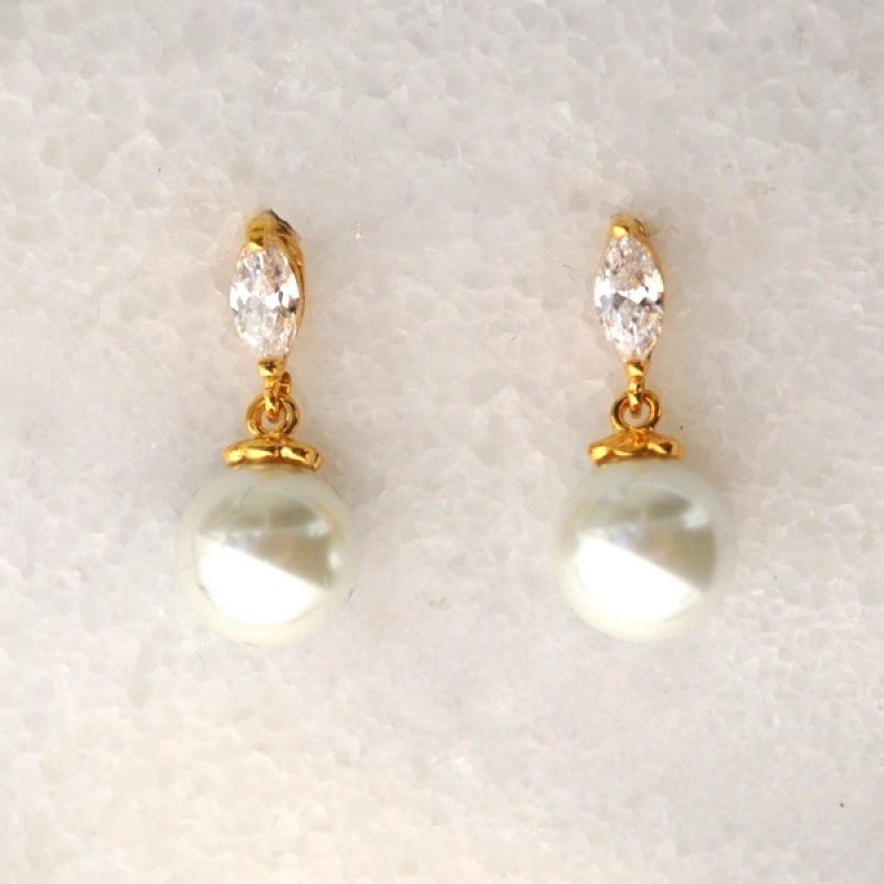 Cubic Zirconia Marquee and Pearl Gold Earrings - Item #EZ-2597GL Size 3/4in x 5/16in.