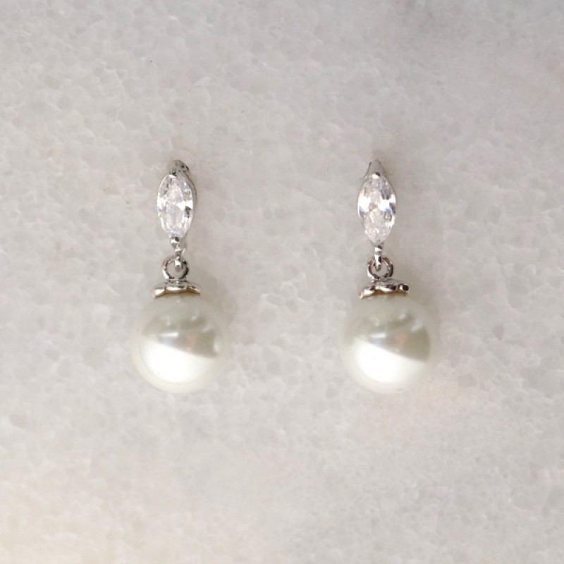 Cubic Zirconia Marquee and Pearl Silver Earrings - Item #EZ-2597SI Size 3/4in x 5/16in.