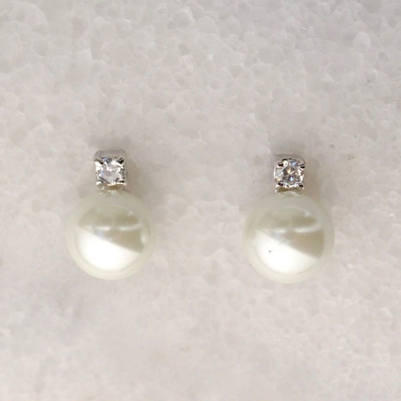 Cubic Zirconia Post Earring with Pearl - Item #EZ-6714CL - 7/16 in x 5/16 in