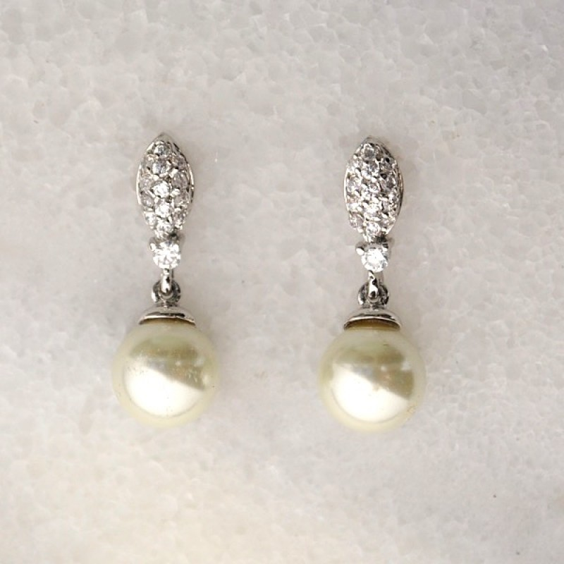 Cubic Zirconia Post Dangle with Pearl - Item #EZ-8313SI - 7/8 in x 5/16 in
