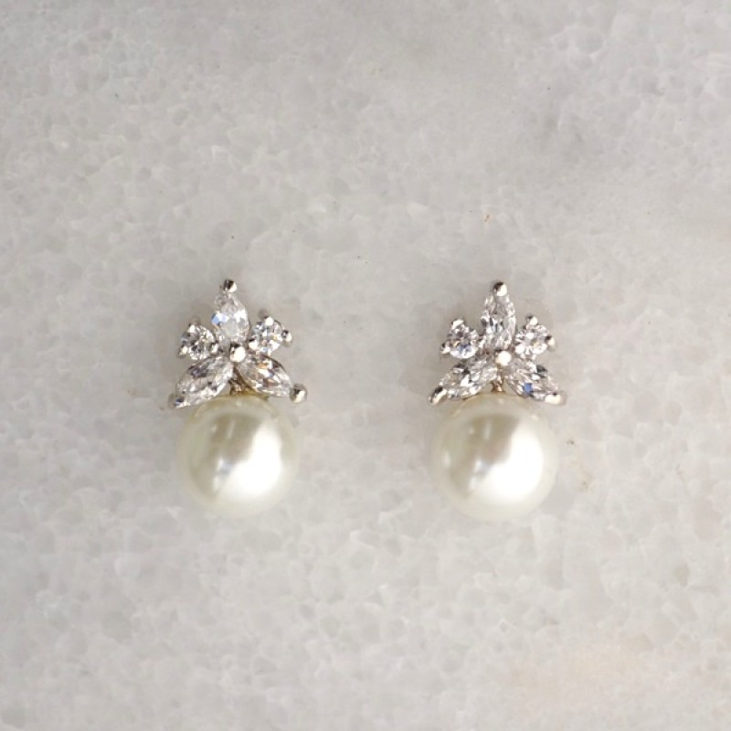 Cubic Zirconia Post with Pearl Earrings - Item #EZ-9084CL - 1/2 in x 1/4 in