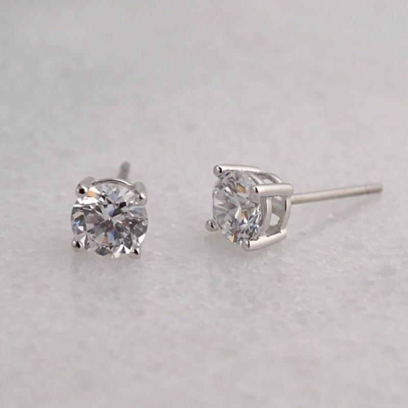 Cubic Zirconia Stud Earrings - Item #E110 - sizes from 5mm - 9mm