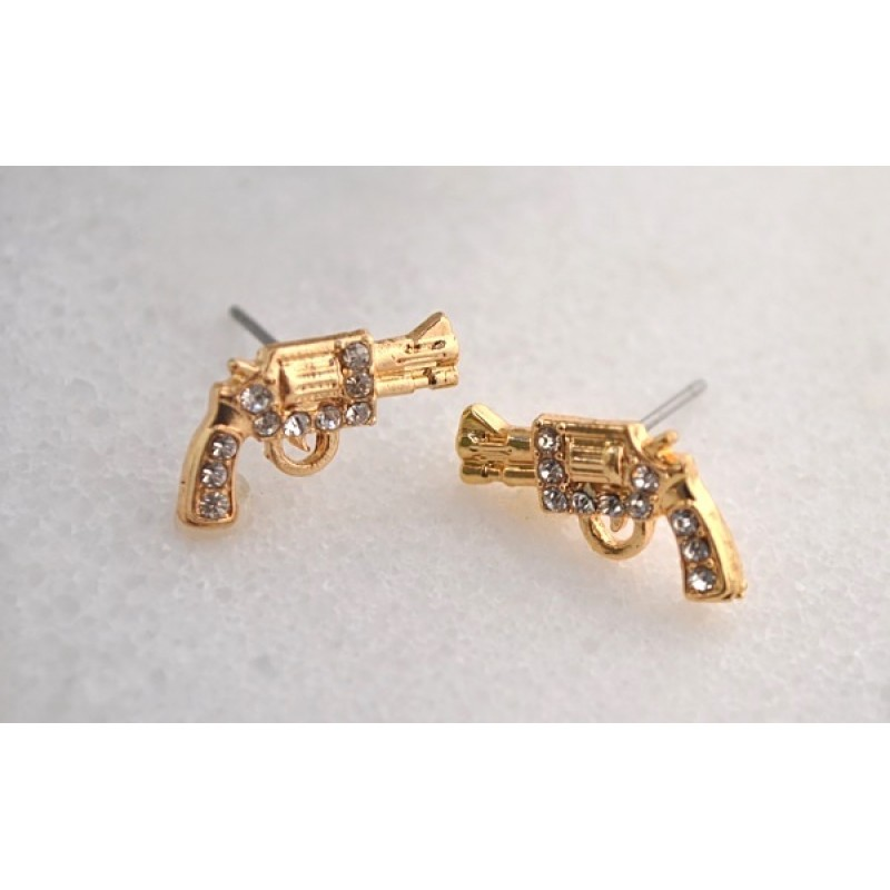 Austrian Crystal Gun Earrings - Item #E1639GCL - 1/2 in. x 1/2 in.