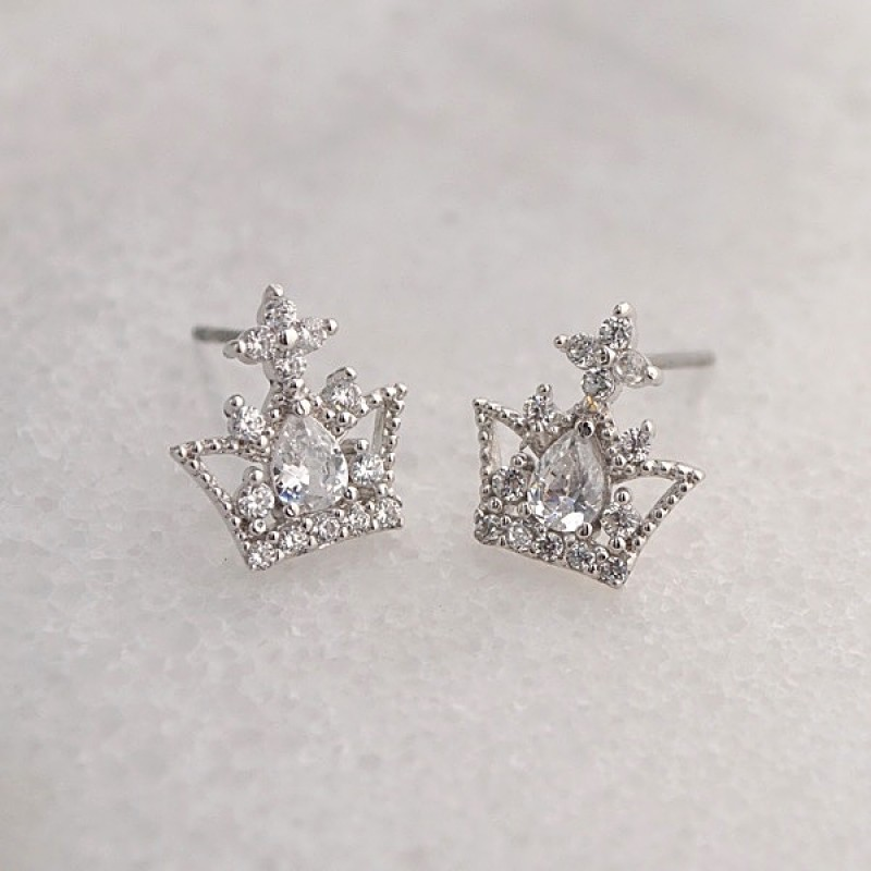 Cubic Zirconia Crown Earrings - Item #E2638 - 5/16 in x 1/2 in