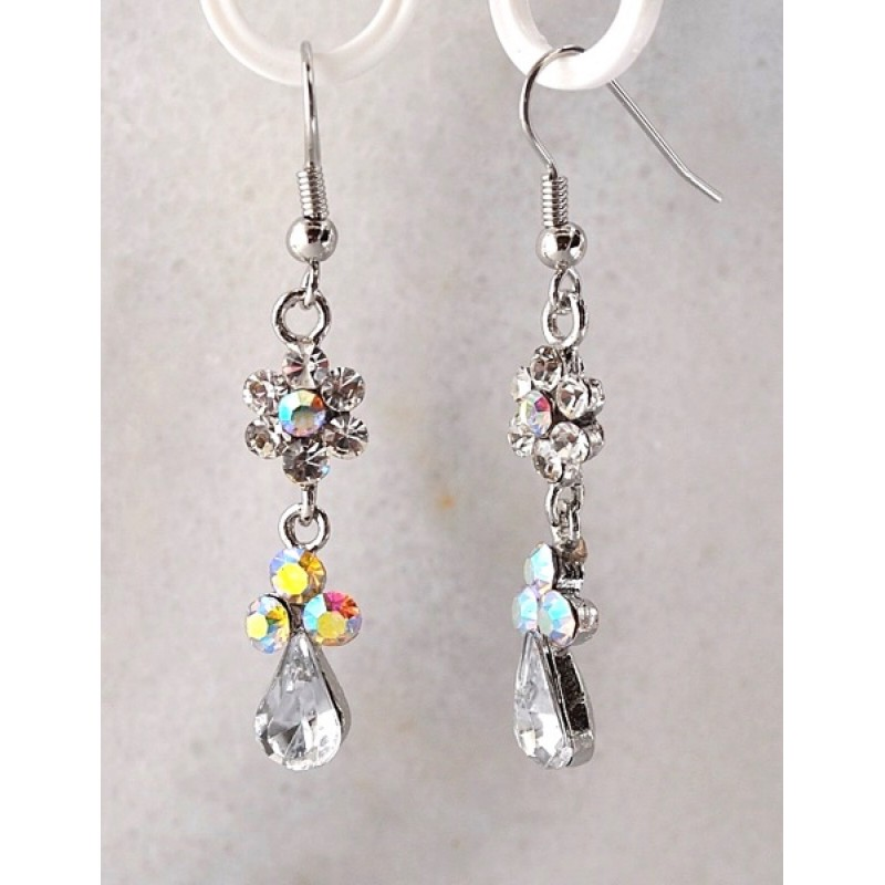 Austrian Crystal Dangle Teardrop Earrings with Flower - Item #E555