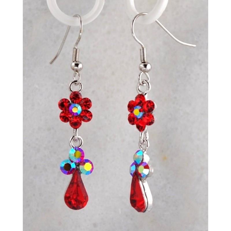 Austrian Crystal Dangle Teardrop Earrings with Flower - Item #E555