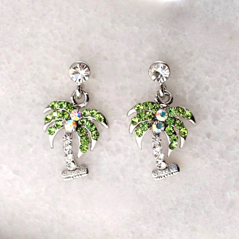 Austrian Crystal Palm Tree Earrings - Item #E6222 - 1/2 in. x 1 in.