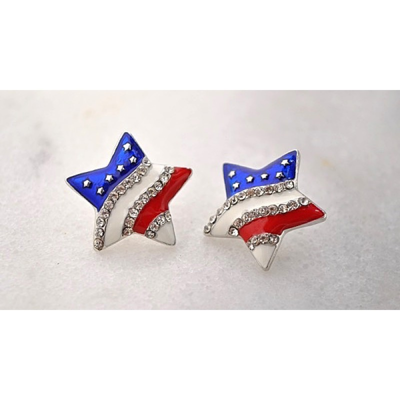 Austrian Crystal Red/White/Blue Star Earrings - Item # EP6643 - 7/8 in x 7/8 in