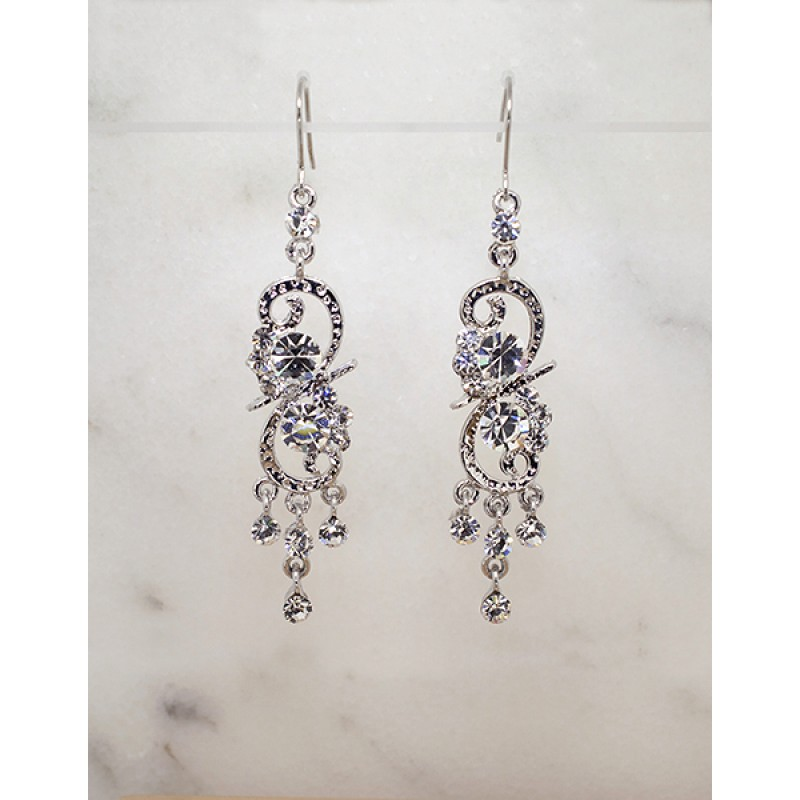 Swarovski Element French Back Dangle Earrings - Item #EVE153488