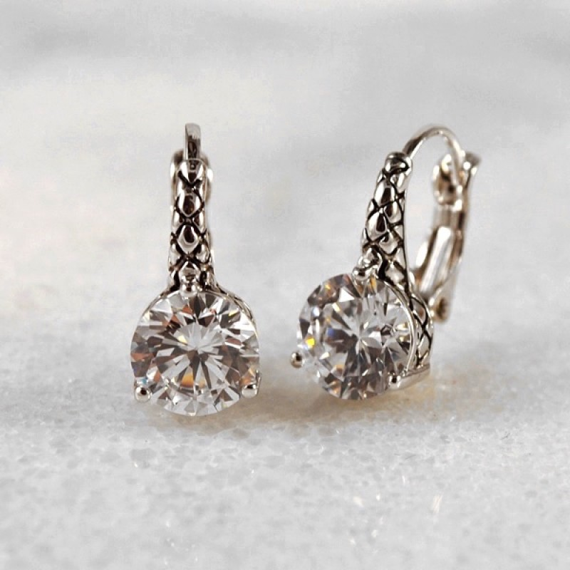 Cubic Zirconia Antique Lever Back Earrings - Item #EZ3143 - 3/4 in.