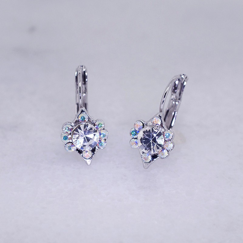 "Austrian Crystal Vintage Style Lever Back Earrings (3/4"" Hoop) - Item KK3"