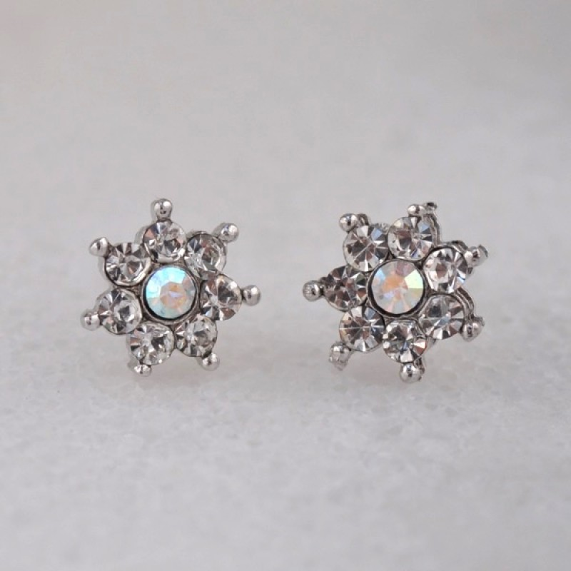 Austrian Crystal Mini Flower Stud Earrings - Item #KK41 -