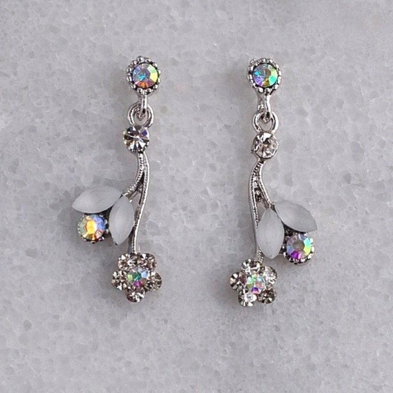Austrian Crystal/Cabochon Flower Dangle Earring - Item #KK43 - 2 in.