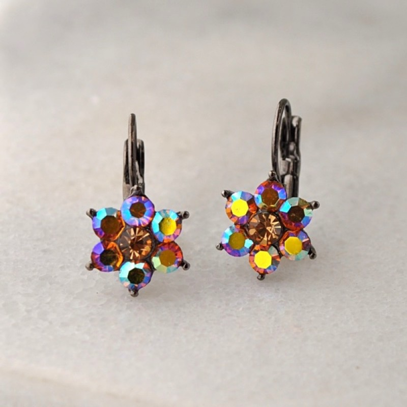 Austrian Crystal Star Stone Earrings - Item #KK45 - 3/4 in.