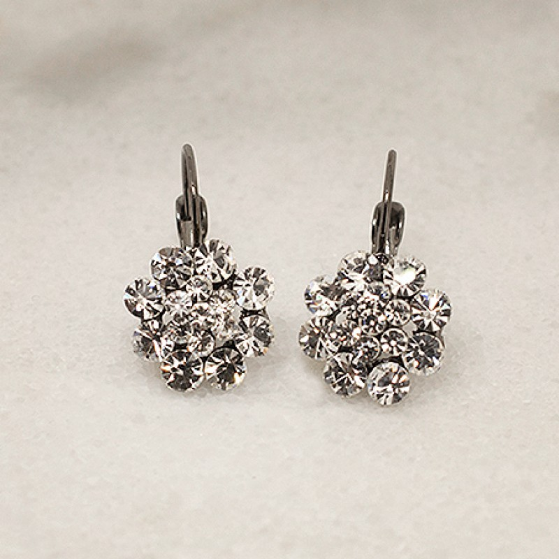 Austrian Crystal Fifteen Stone Flower Earrings - Item #KK47 - 3/4 in.