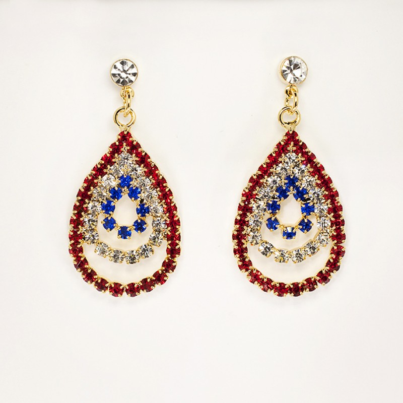 Austrian Crystal Red/White/Blue Earrings - Item # KK60 - 3/4 in x 1 1/2 in