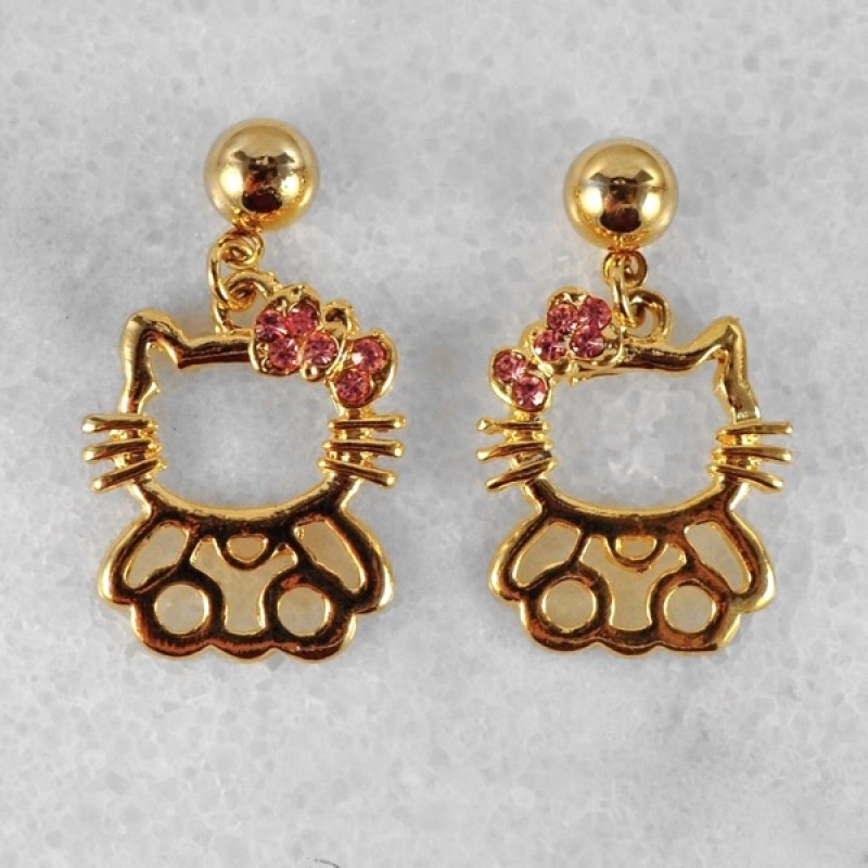 Whimsical Austrian Crystal Kitty Earrings - Item #AE16370 - 1in.
