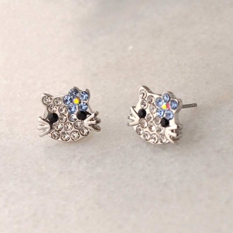 Whimsical Austrian Crystal Kitty Small Earrings - Item #KTY2 - 1/4 in.