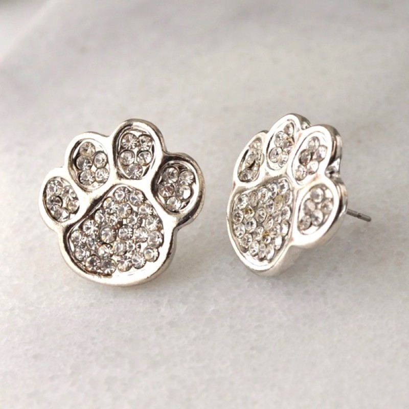 Whimsical Austrian Crystal Paw Print Stud Earrings - Item #PAW1 - 1/2 in.