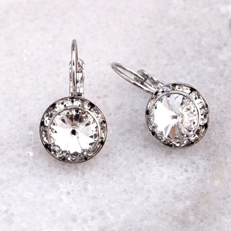 Swarovski Element Lever Back Earrings - Item #MRP11390S - 3/4 in