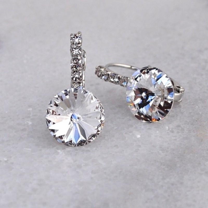 Swarovski Element Lever Back Earrings - Item #MS47 - 3/4 in