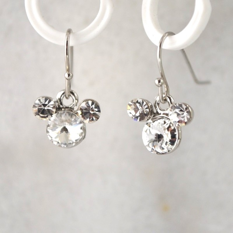 Swarovski Element Mr. Mouse Hook Earrings - Item #MMECL - 1/4 in x 3/4 in Made in USA