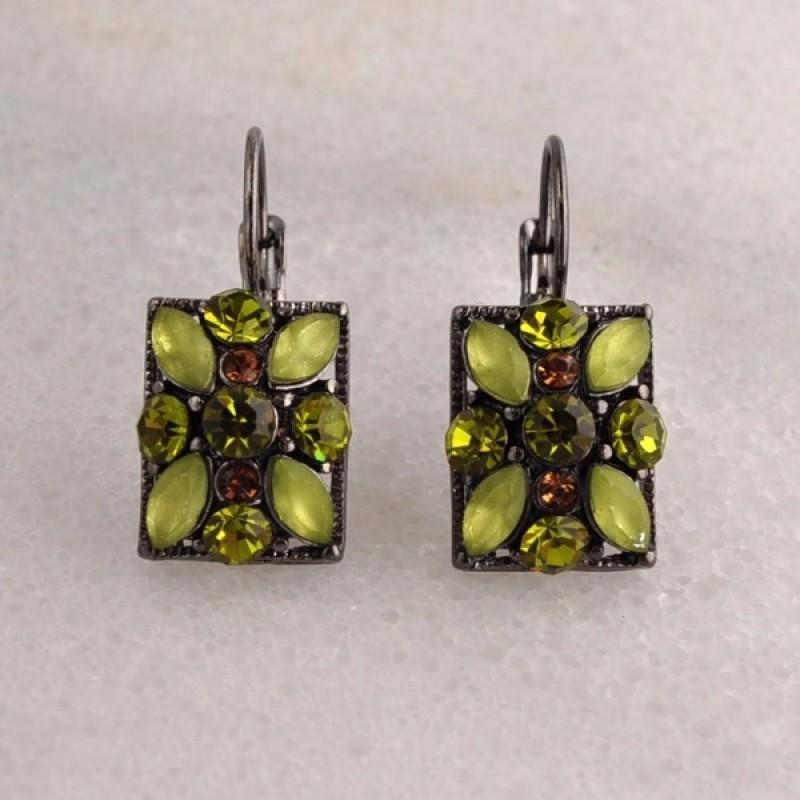 Austrian Crystal / Cacochon Lever Back Earrings - Item #OE1474BN - 3/4 in