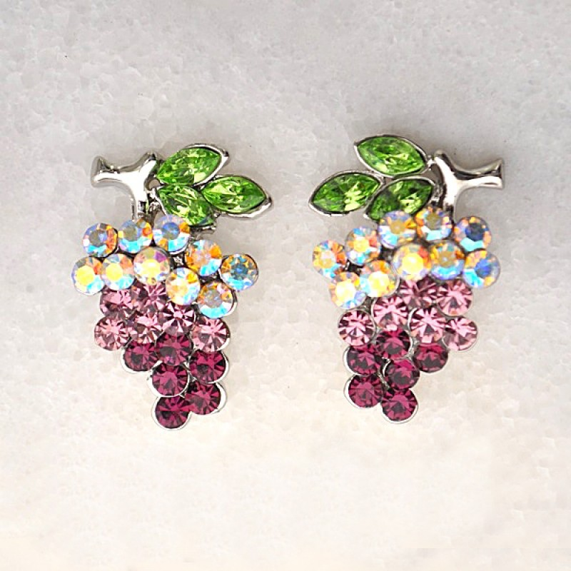 Austrian Crystal Grape Earrings - Item #UE088DS - 3/4 in x 1 in