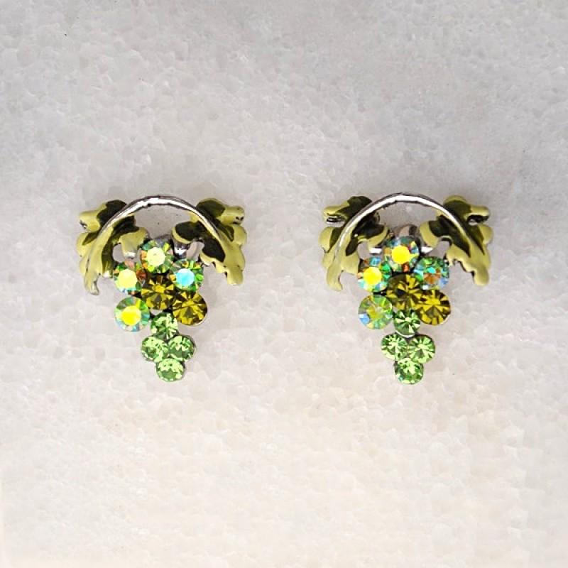 Austrian Crystal Grape Earrings - Item #UE560PERIS - 1/2 in x 5/8 in