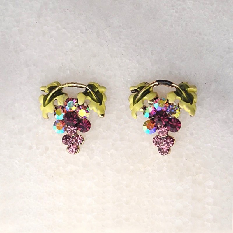 Austrian Crystal Grape Earrings - Item # UE560S - 1/2 in. x 5/8 in.