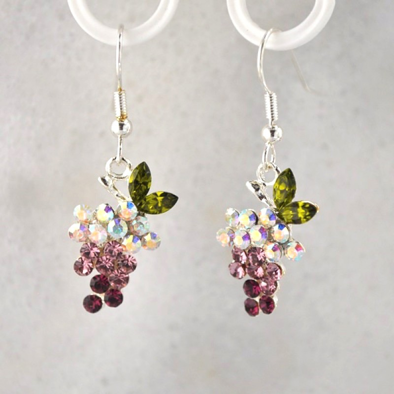 Austrian Crystal Grape Hook Earrings - Item #UNE059ER - 1 1/2 in