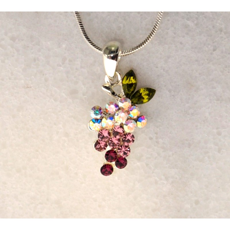 Austrian Crystal Grape Necklace - Item #UNN059NK - 18 in