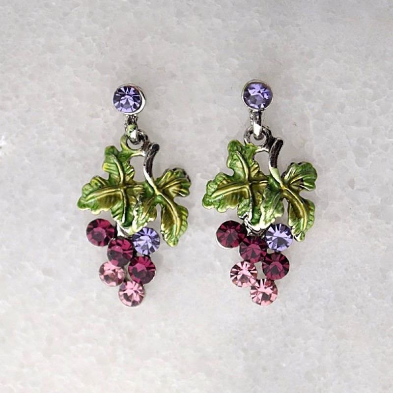 Austrian Crystal Grape Earrings - Item #UZI559-S - 1/2 in x 1 in