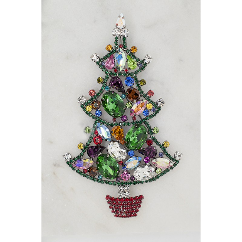 "Austrian Crystal Christmas Tree Pin - Item#9826 3"" x 5"""