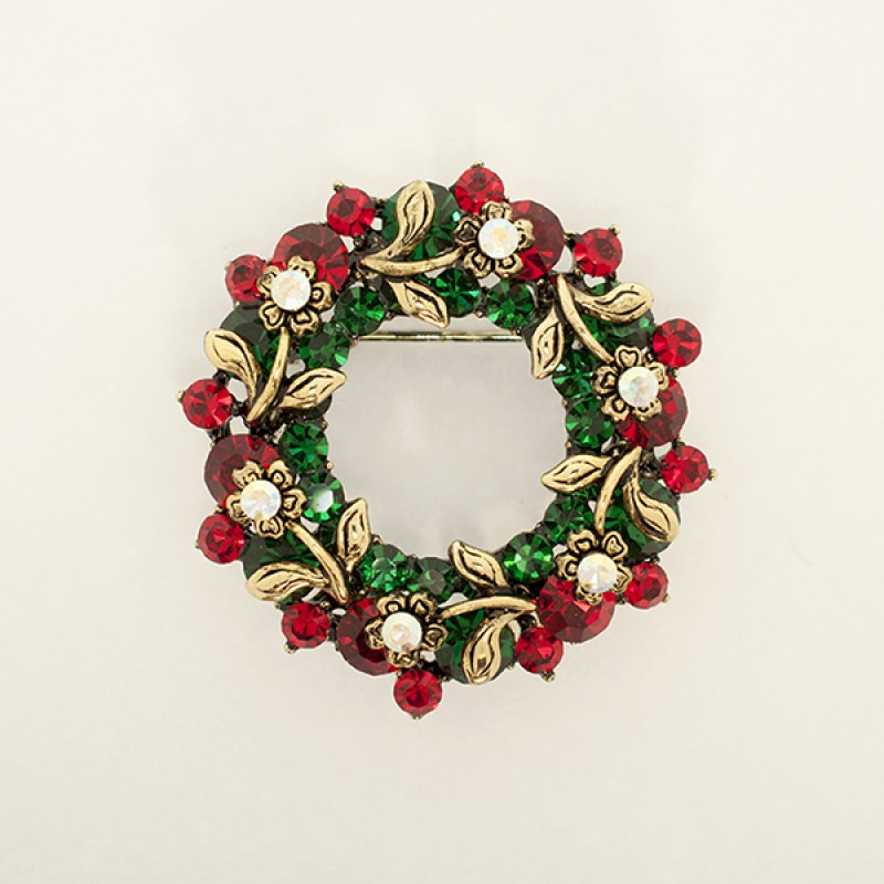 Austrian Crystal Christmas Wreath Pin - Item #BC0346 Size is 1 and 1/2 in.