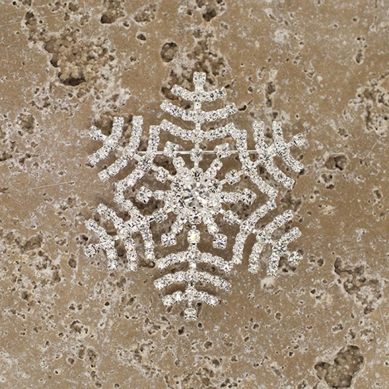 Austrian Crystal Clear Snowflake Pin - Item #BH6201