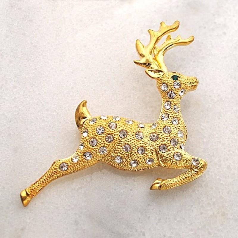 Austrian Crystal Reindeer Pin - RNDRPIN1