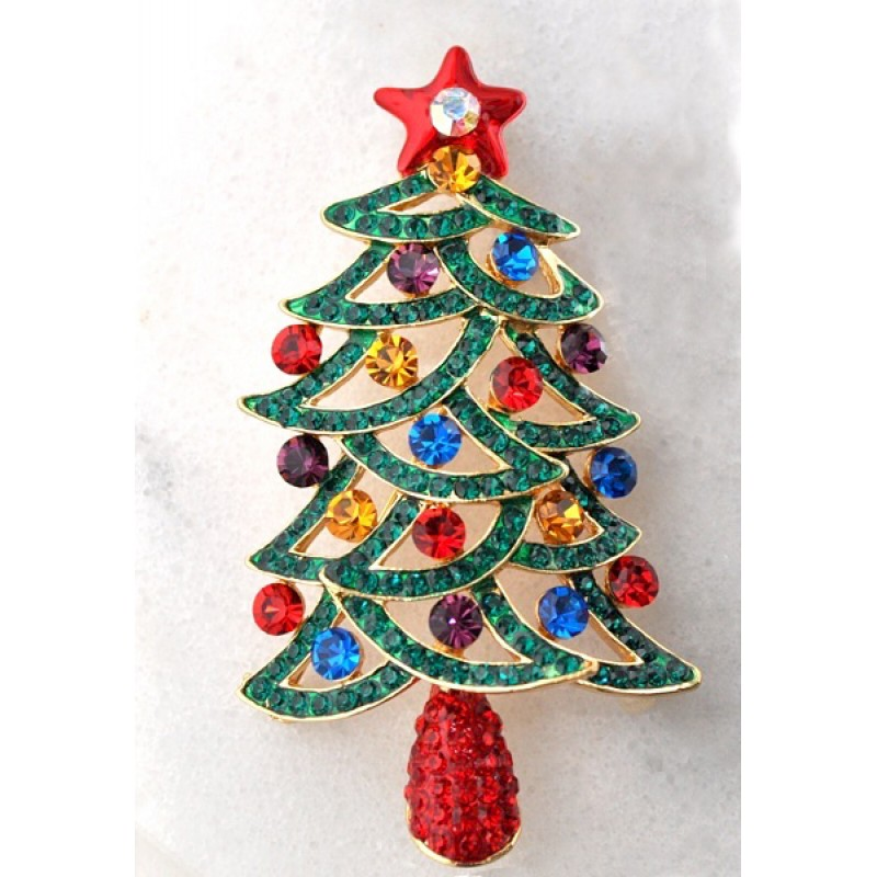 Austrian Crystal Christmas Tree Pin - Item #TREEPIN1