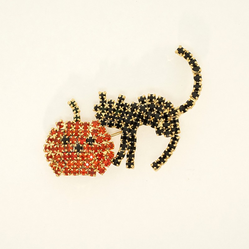 Austrian Crystal Black Cat and Pumpkin Pin - Item #BX1824 Size is 1 1/5 in. by  2 in.