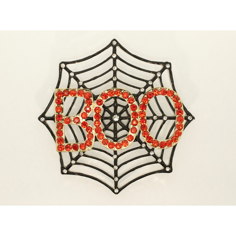 Austrian Crystal Boo Web Pin - Item #BX5329 Size is 3 in.