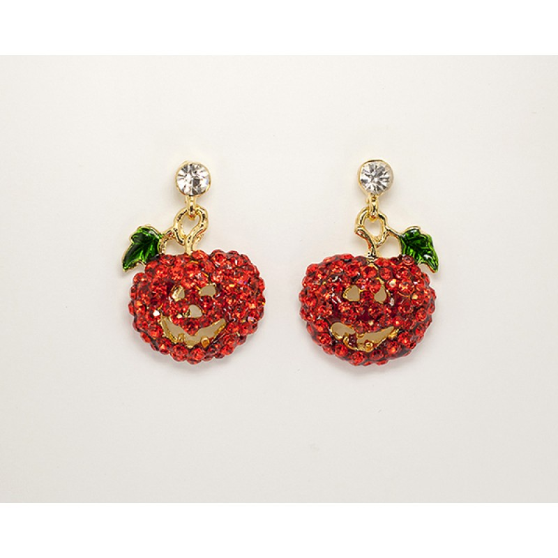 Austrian Crystal Pumpkin Earrings with Green Leaf and Clear Stone- Item #E0678 Size 3/4in x 1in.